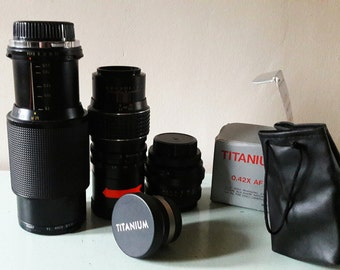 Four Vintage SLR Camera Lenses