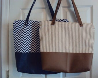 Faux Leather Bottom/Fabric Tote