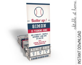 Baseball Invitation, Baseball Birthday Invitation, Baseball Ticket Invitation INSTANT DOWNLOAD you personalize at home