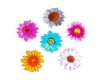 30 x Wooden 35mm Daisy Flower Buttons