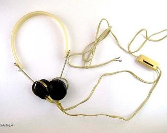 Vintage Soviet Era Bakelite and Plastic Oktava Ton-2 Radio Headphones with Volume Control. Made in USSR