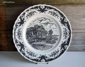 Vintage English Ironstone Black Transferware Countryside Motif Rural Scene Lunch/Salad/Decorative/Collectible Plate Retro English Tableware