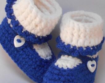 Custom Design Handmade Crochet Royal Blue Mary Jane Baby Booties