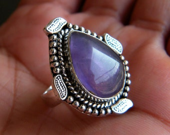 Natural Amethyst Ring, Silver Plated Ring, Silver Brass Ring, Birthday Gift, Women Jewelry, Designer Ring, Ring size-7.25 SH-1982
