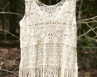 Crochet Tank Vintage Style Finge Knit Cotton Boho Top