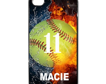 Personalized name number softball case cover 4 4s 5 5c 5s 6 6s plus made USA
