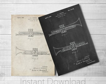 Instrument Printables, Trumpet Patent Poster, Big Band, Band Director Gift, Instrument, Gifts for Musicians, Music Room Decor, PP1140