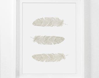 Brown Feather Print, Feather Wall Art, Brown Wall Print, Beige Feather Wall Art, Taupe Feathers Wall Print, Bohemian Wall Art, Printable Art