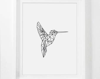 Geometric Animal, Hummingbird Print, Printable Nursery Art, Hummingbird Art, Hummingbird Wall Art, Nursery Art Prints, Printable Kid Artwork