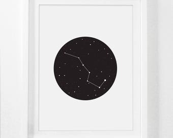 Ursa Major, Galaxy Poster, Big Dipper Print, Constellation Poster, Big Dipper Little Dipper, Solar System Poster, Solar System Print Digital