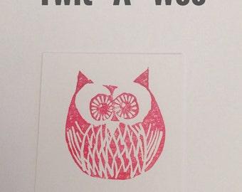 Lino Print Card - 'Twit-A-Woo' - Blank - Red