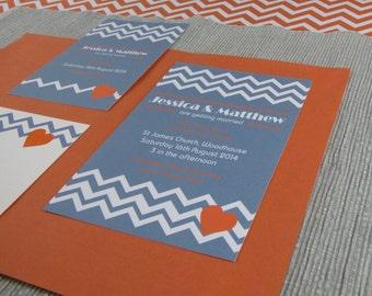 Geometric Chevron Wedding Invitation