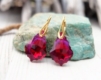 Ruby Red Swarovski Earrings-24k Gold Plated Crystal Earrings-Swarovski Jewellery-Red Swarovski Baroque Earrings-Dangle Bridesmaids Earrings