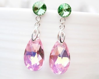 Long Sterling Silver Swarovski Crystal Earring Jewellery-Dangle Drop Earrings-Green Pink Rose Teardrop Bridesmaids Wedding Earrings
