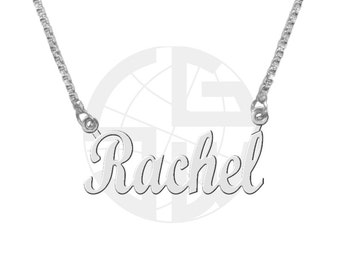 Sterling Silver Personalized Handmade Name Necklace with ANY NAME of your choice in English with High Polish Shiny Finish Gift item - SB