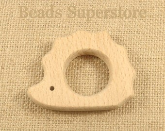 SALE Natural Wood Hedgehog Teether - Natural Unfinished Wood Teether - Baby Teether