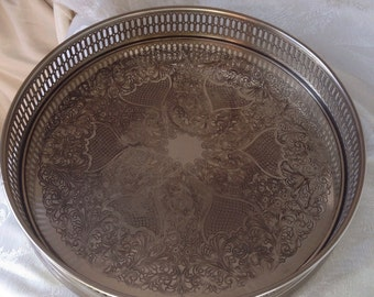 Round Silver Plate Tray, Pierced Edge, P M, Italy