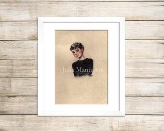 Audrey Hepburn Art Print, Audrey Hepburn Drawing, Audrey Hepburn Art, Ready to Frame, Unframed Art Print, Audrey