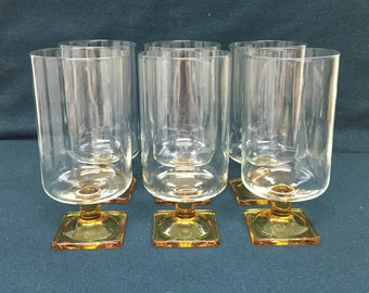 Vintage Federal Nordic Amber Topaz Square Base Glasses