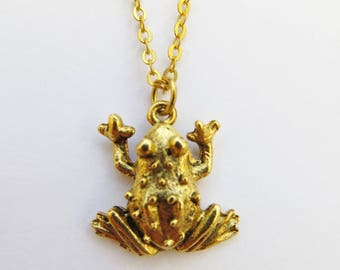 Gold Frog necklace, Toad Charm Necklace, Frog Jewellery, Brass Frog, Amphibian Pendant, Prince Charming
