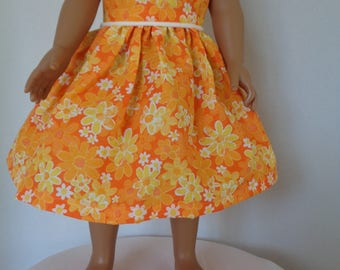 18 Inch Doll Dress/18 Inch Doll Clothes/Cute Summer Dress/Bright Orange and Yellow Flowers Accented with White Collar and White Trim