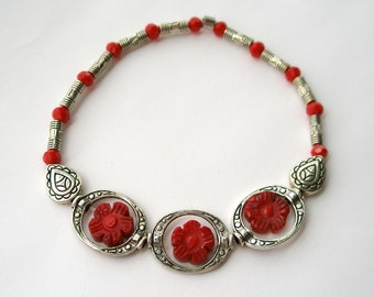 Red Flower Metal Circles Bracelet