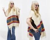SALE Vtg 70s Indian Blanket Ethnic PONCHO Tunic Sweater caftan FRINGE Tribal Print Rainbow Stripe Boho Festival Hippie Draped Southwestern N
