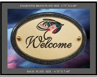 """Solid Brass engraved Signs """" WELCOME """" Sign, Plate, Plaque, Signs, Signage"""