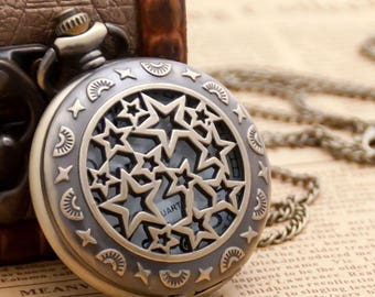 Vintage style pocket watch necklace pendants,steam punk quartz watches,stars necklaces supplies,retro,battery watches,bronze P130
