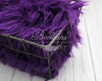 STOREWIDE SALE - Purple Faux Fur Photography Prop Soft, Cozy, Cuddly Faux Fur Nest Newborn Posing Photography Prop, Stuffer, Layering