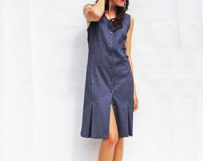 Sleeveless Shirt Dress, Vintage 1980s Sleeveless Midi Dress, Plaid Dress, Summer Dress, Secretary Dress, Vintage 80s Smart Dress, Blue Dress