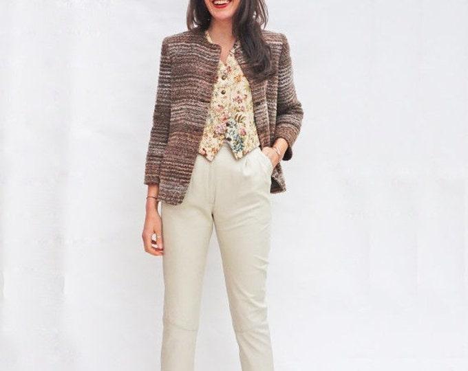 Womens Striped Jacket, Vintage 1980s Collarless Jacket, Brown Striped Jacket, Belted Jacket, Wool Jacket, Cropped Jacket, Fun Fashion Tumblr