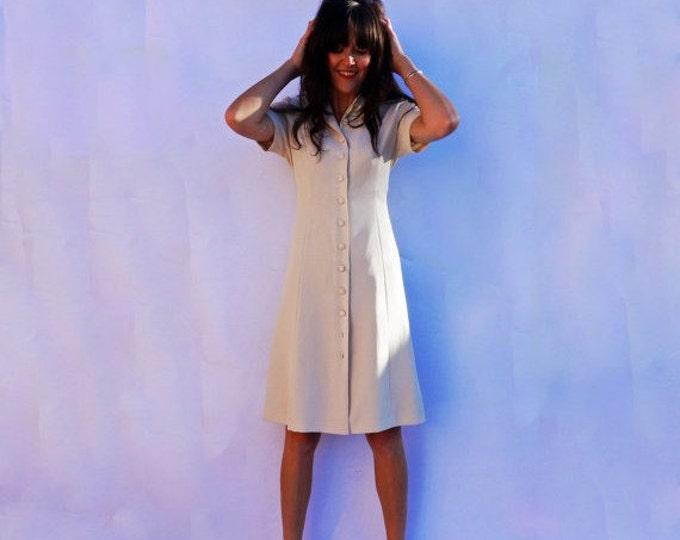Cream Day Dress, Vintage 80s Dress, Shirt Dress, Midi Dress, Button Down Dress, Shirtdress Dress With Sleeves Smart Dress, Crepe Satin Dress