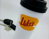 Luke's Diner Mug | Travel Mug |Gilmore Girls Inspired | Double Walled | BPA Free | Close-Top lid & Handle | Dual-Layer Vinyl Decal