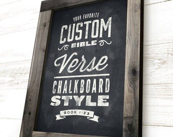 Framed Bible Verse, Scripture Sign, Custom Scripture Art, Scripture Wall Art, Chalkboard Sign, Rustic Bible Verse Decor