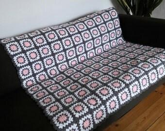 Pink Crochet Afghan Grey Throw Pink Blanket Grey Blanket Pink Throw Grey Afghan Blanket Grey Throw Blanket Pink Throw Blanket READY TO SHIP