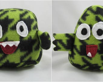 Mini Monsters - Lime Green Houndstooth - cute plush monstar animals, silly faces, hand held pocket monsters