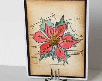 Poinsettia Blueprint Card
