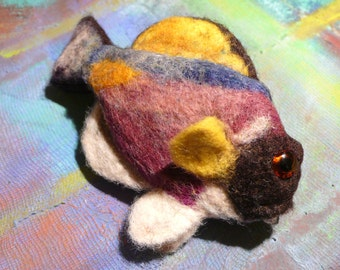 Needle felted fish hair barrette Blue Surgeonfish