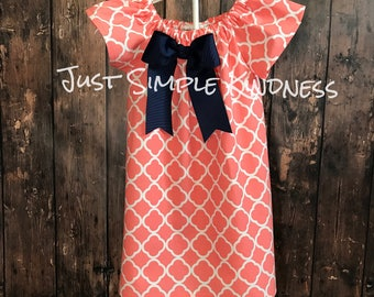 Girls Dresses, Girls Easter Dress, Girls Spring Dress, Girls Summer Dress, Girls' Clothing, Girls Dresses, Girls Coral Dress, lattice dress