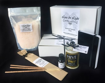 Spiritual PAMPER pack- Aromatherapy Essential oils, candle & bath salts