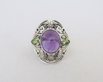 Vintage Sterling Silver Amethyst Cabochon & Peridot Ring Size 7