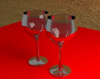 Wine Glasses, blank note card/envelope