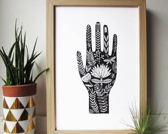 Detailed black hand tattoo style illustration. Giclee folk art print A4 size