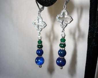 Elegant Lapis Emerald Silver Plated Earrings***.