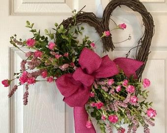 VALENTINE WREATH,Heart Grapevine Wreath, Valentine Wildflower Wreath,Baby Girl Wreath,Valentine Wreath,Wildflower Wreath,Mothers Day Wreath