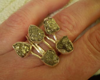 Pyrite Nugget (Natural) 925 Sterling Silver Ring Size 9.75  9 3/4