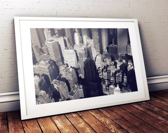 New York City, view from the Empire State Building, Panorama, B&W Photo, landscape, giclee, skyscraper, USA, america