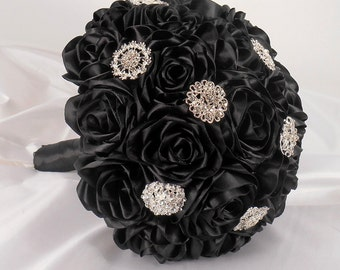 Black Wedding Bouquet, Black Bridal Bouquet, Fabric Bouquet, Black Bouquet, Quinceanera Bouquet, Black Satin Bouquet, Alternative Bouquet