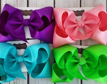 5 Exlarge  Basic Boutique  Bows Hairbows Solids School Grosgrain Jumbo Choose 5